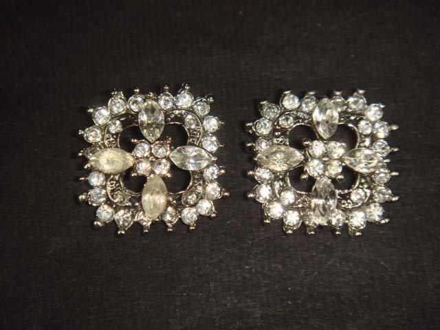 2 pc Bridal dress rhombus square Rhinestone button BN19