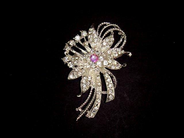 Bridal dress cake topper Rhinestone Brooch pin PI461