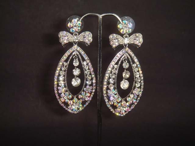 Bridal Chandelier bow Dangle Rhinestone Earring ER180