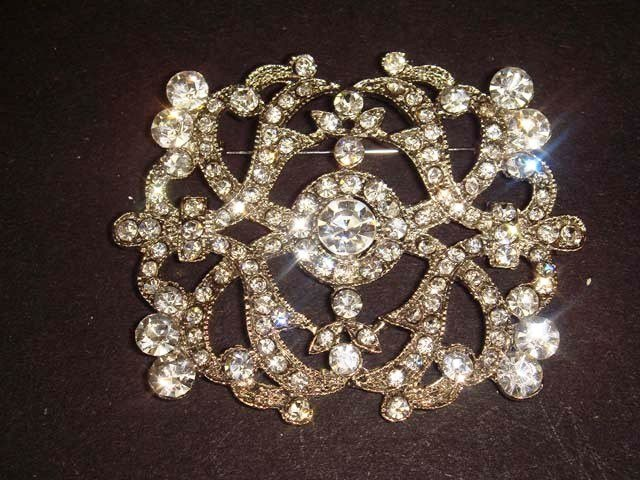 Bridal Vintage style bling Rhinestone Brooch pin PI442