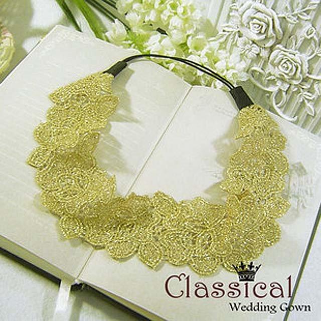 Bridal Crochet flower gold tiara hair headband HR124