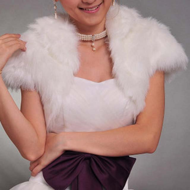 Bridal Faux Fur Shrug Shawl Cape Wrap BOLERO SF110