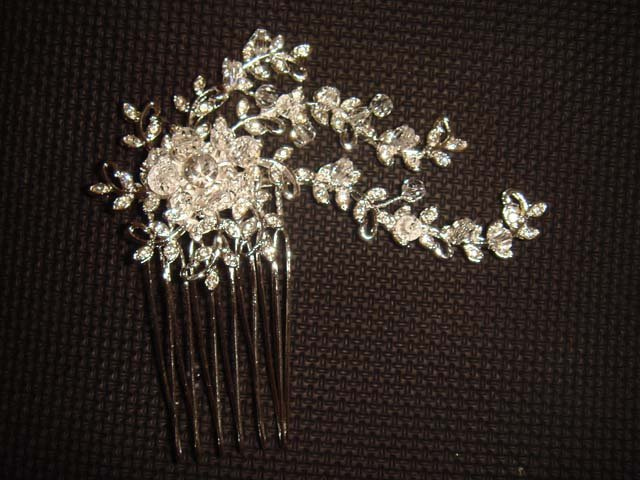 Bridal Crystal Rhinestone Flower Hair tiara Comb RB210