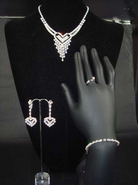 Bridal heart rhinestone bracelet necklace earring NR215