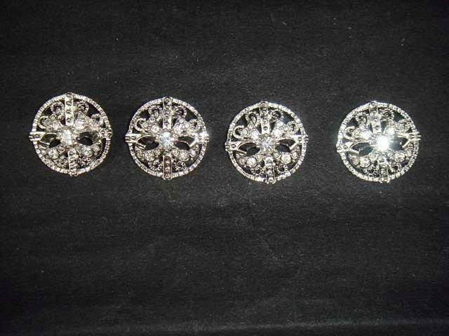 4 Bow repair Dress Rhinestone clasp hook button BN26