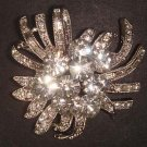 Bridal Faux pearl Flower Rhinestone Brooch pin PI484