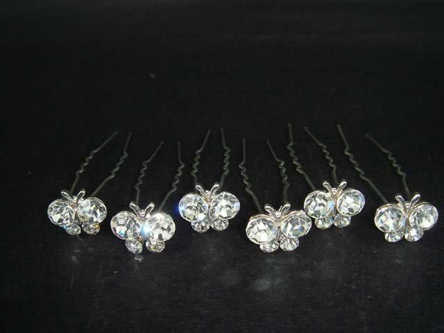 6 Bridal Butterfly Rhinestone Hairpins Hair pins RP136