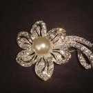 Bridal Faux Pearl Flower Rhinestone Brooch pin Pi455