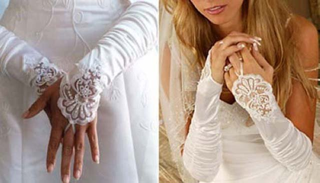 "14"" Bridal prom Ivory Lace Satin Fingerless Gloves S06"