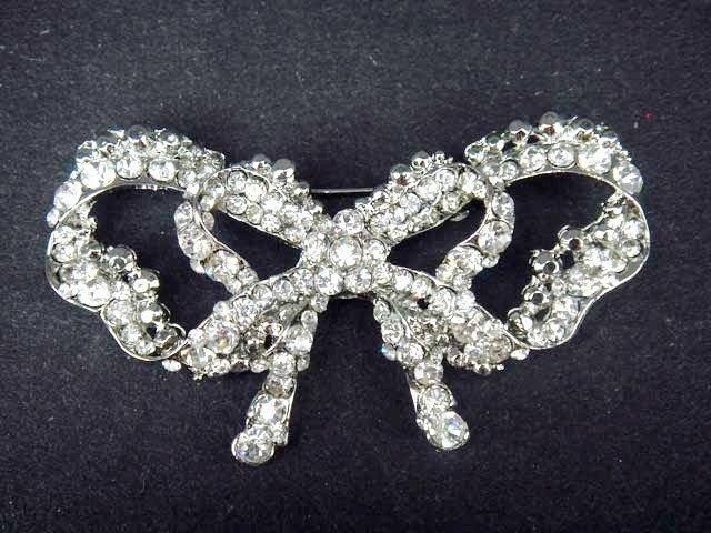 Bridal Bow  Cake topper Rhinestone Brooch pin PI426