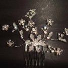 Bridal Flower crystal Rhinestone Hair tiara Comb RB351