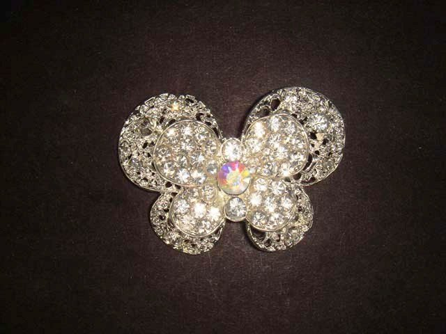 Bridal Butterfly crystal Rhinestone Brooch pin PI459