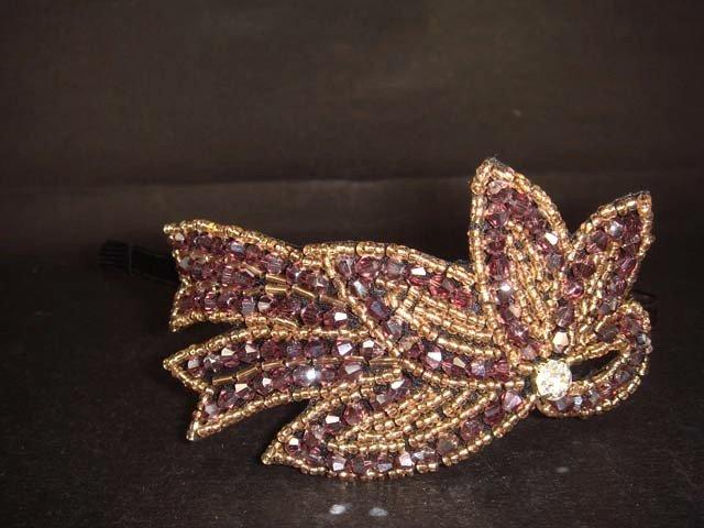 Purple applique bead Rhinestone tiara Headband HR110