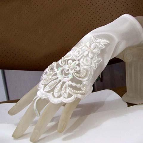 Bridal Crochet ivory Lace Satin Fingerless Gloves S19