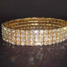 4 row Bridal Stretchy Rhinestone Bangle Bracelet BR54