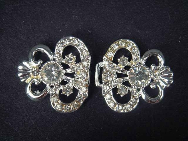 Vintage style dress Rhinestone clasp hook button BU28