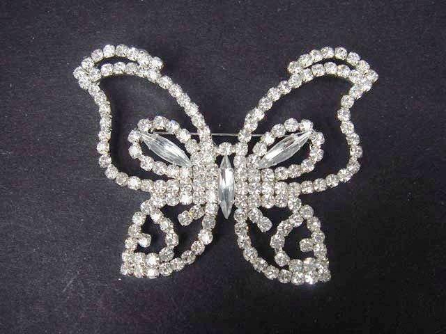 Bridal dress butterfly Rhinestone Brooch pin PI409