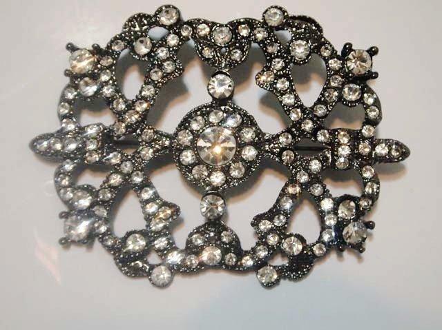 Bridal Vintage Style black Rhinestone Brooch pin PI433
