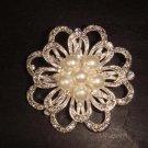 Bridal Faux Pearl Crystal Rhinestone Brooch pin PI349