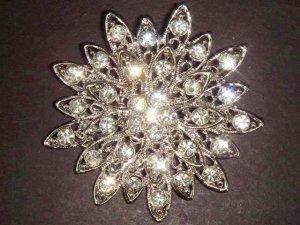 Bridal Vintage style Cake decoration topper Crystal Rhinestone Brooch pin PI06