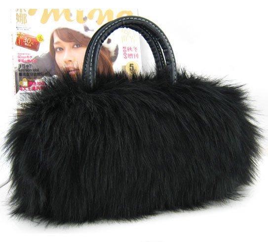 Wedding Prom Black Purse Faux Fur Shoulder bag handbag LB7