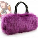Wedding Prom purple Purse Faux Fur Shoulder bag handbag LB7