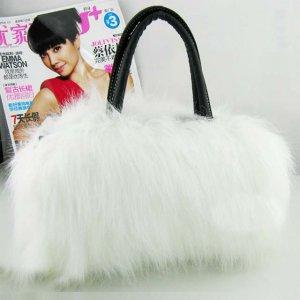 Wedding White Purse Fur Shoulder bag handbag LB7