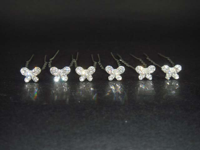 6 Bridal Butterfly Rhinestone Crystal Hair pins BH178