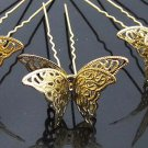 6 pcs Bridal traditional gold tone Butterfly Hair pin tiara hairpin RP175