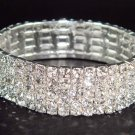 5 row Prom Bridal Wedding Crystal Rhinestone Cuff Bangle Bracelet BR06