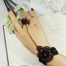 Sexy Rhinestone rose flower Black Lace gothic slave Bracelet BR202