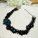 Gothic sexy Lolita Lace Blue Flower Black Choker necklace NR263