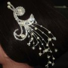 BRIDAL FAUX PEARL PEACOCK HEADDRESS CLEAR RHINESTONE HAIR TIARA COMB BH63