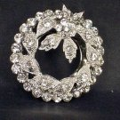 Bridal Prom Round circle flower wreath rhinestone crystal scarf clip BU71