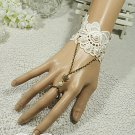 Sexy Faux pearl Ivory Lace gothic Belly dance slave Bracelet- thin hand BR236