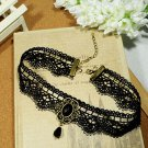 Gothic Lolita Lace ribbon Black Choker necklace NR227