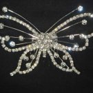 Bridal Rhinestone Butterfly Headdress Headpiece crystal Hair Tiara Comb RB530