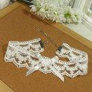 Gothic Lolita Crochet  Lace ribbon white Choker necklace NR238