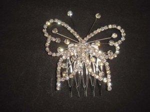 Bridal Rhinestone Butterfly gold tone Headpiece crystal Hair Tiara Comb RB531