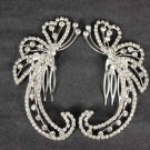 2 pcs Bridal Crystal Rhinestone Headpiece spiral Hair tiara Comb RB521