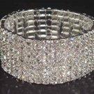 7 row Bridal Wedding Crystal Rhinestone Bangle Bracelet BR15