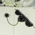 Sexy Belly Dance rose flower Black Lace gothic slave Bracelet thin hand BR216