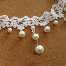 Gothic sexy Lolita White Bow bead Choker necklace bracelet NR266 -thin hand