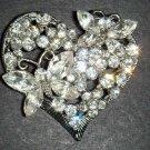 Bridal Heart Vintage Style Butterfly Crystal Rhinestone Brooch pin PI50