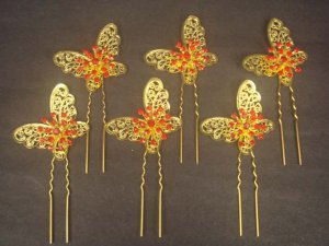 6 pcs Bridal crystal Rhinestone gold tone Butterfly Hair pin tiara hairpin RP174