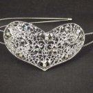Bridal Rhinestone Heart headpiece AB crystal Hair tiara Comb HR170