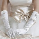 "15"" Bridal prom ivory Bow Satin Elbow Gloves S29"
