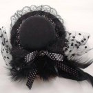 Bridal Feather Black lace ribbon dot bow hair Fascinator Mini Hat clip BA164
