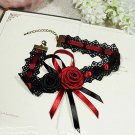 Gothic Sexy Lolita Lace ribbon Black Red Rose Flower Choker necklace NR243