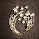 Bridal Faux Pearl Crystal Rhinestone Brooch pin PI486